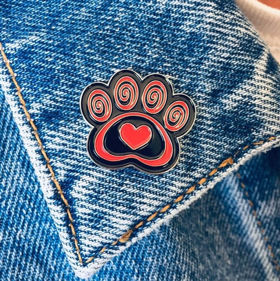 Paw Print Pin Heart Paws To Enjoy Life Lapel New Silver Tone Black Jewelry Dogs