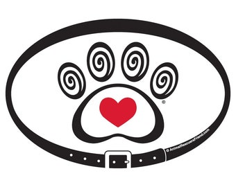 DECAL - Heart & Swirl Paw Print - red heart - 4x6 Oval - Dog Cat Lover- Pet Lover Gift - donates to animal rescue