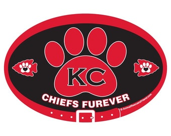 MAGNET or DECAL - KC Chiefs Furever (red on black) - Kansas City - Football - 4x6 Oval - Pet Lover Gift - Dog Cat Lover - donates to rescue