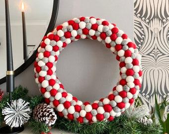 Christmas Wreath, Felt ball wreath, Red, White Grey, Alternative wreath, Felt ball Wreath, Christmas decor, christmas decoration