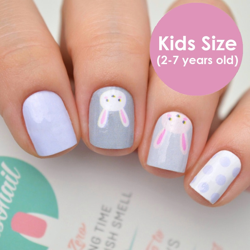 Kids Easter Rabbit Nail Polish Wraps (age 2-7 years old)