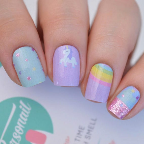 Unicorn Glitter Magical Nail Polish Wraps Available In Adult Etsy