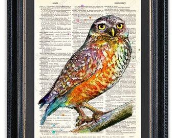 Watercolor Owl, Dictionary Art Print, Owl Wall Art, Colorful Owl Poster