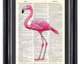 Pink Flamingo, Dictionary Art Print, Flamingo Art, Flamingo Print, Flamingo Decor, Vintage Dictionary Art