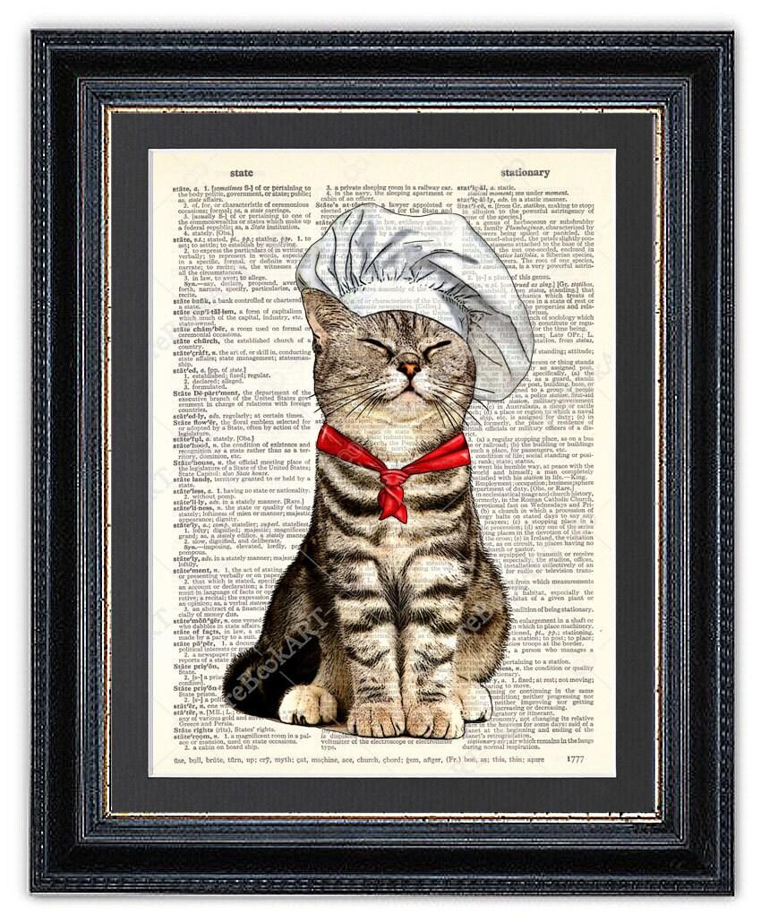Kitchen Dictionary: Cat Chef Kitchen Art Print Dictionary Art Print Cat Wall