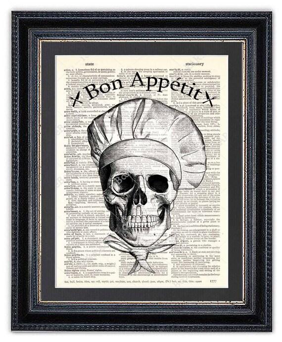 Kitchen Dictionary: Skull Chef Kitchen Art Print Dictionary Art Print Skull