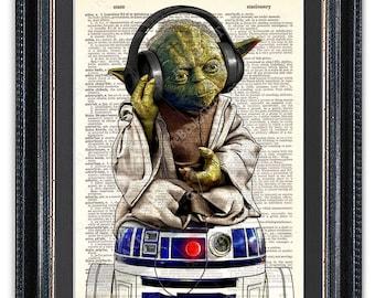 Yoda avec un casque, assis sur R2-D2, dictionnaire Art Print, impression d'Art Star Wars, Yoda de Star Wars, Star Wars R2-D2
