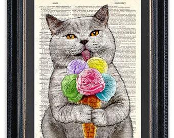 Cat with Ice Cream, Kitchen Art Print, Dictionary Art Print, Cat Wall Art, Funny Cat Print