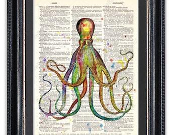 Octopus 2, Dictionary Art Print, Octopus Art, Octopus Wall Art, Octopus Poster, Octopus Decor, Octopus Print, Vintage Octopus