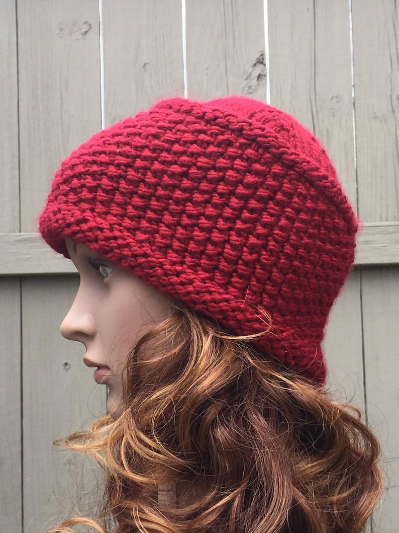 7385c635359b7 Knit Winter Hat Seed Stitch Knit Hat Warm Winter Hat Red