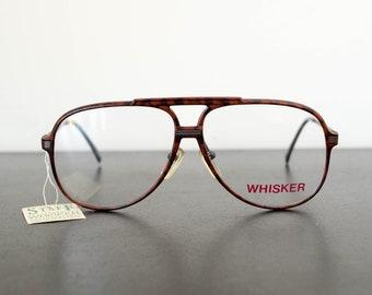 71398bd81e7 80s vintage WHISKER Japanese unused brown camouflage aviator frame  eyeglasses