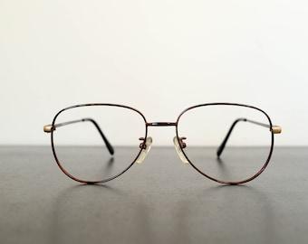e99826d48b2 80s vintage unused brown tortoiseshell thin aviator eyeglasses frame  (Beatnik6070)