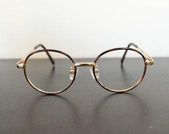 210a8ec58b9 vintage unused SEIKO brown tortoiseshell thin round eyeglasses frame
