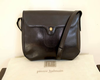 34ff67453d vintage 80s PIERRE BALMAIN black leather shoulder handbag