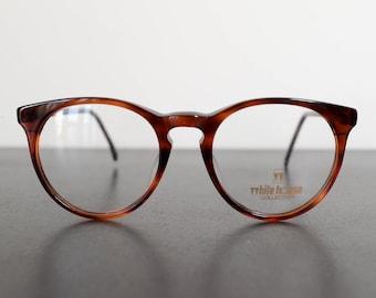 996d4f57f01 vintage 90s WHITE HOUSE unused amber color round frame eyeglasses