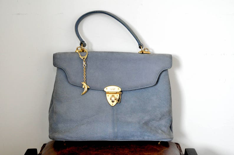 af4d8e0930 Vintage ANNE KLEIN women baby blue suede leather handbag / | Etsy