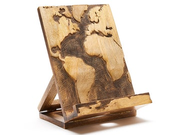 Hand Carved, Collapsible Tablet, IPad, Kindle, Cookbook, Book Stand, Holder, Easel with Globe World Design, Made in India by Matr Boomie