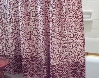 Block Print Chain Pattern Shower Curtain Batik