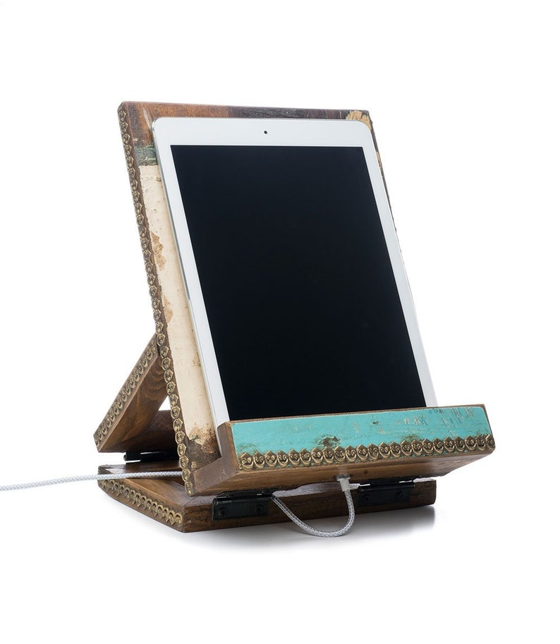 Wooden Adjustable Tablet Book iPad Recipe Cookbook Kitchen Easel Stand With Gold Intricate Designs From India By Matr Boomie