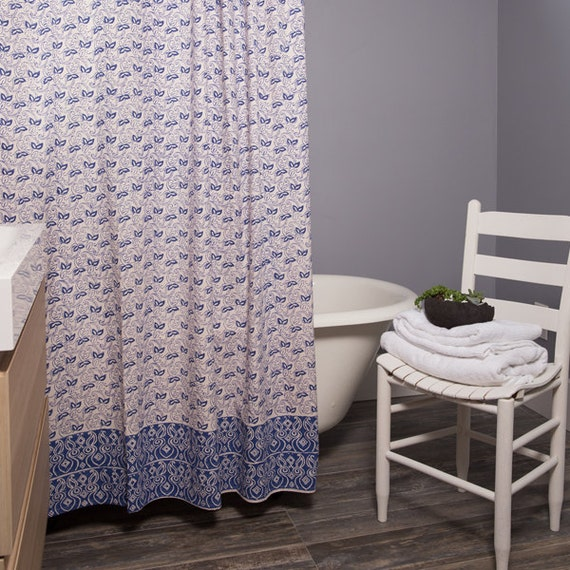 Block Print Paisley Pattern Shower Curtain Indigo
