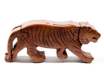 Boîte de Puzzle tigre sculpté à la main