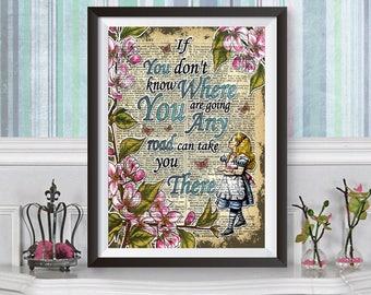Poster Print Wall Decor Alice in Wonderland, dictionary book artwork Poster, Lewis Carroll, Original illustration