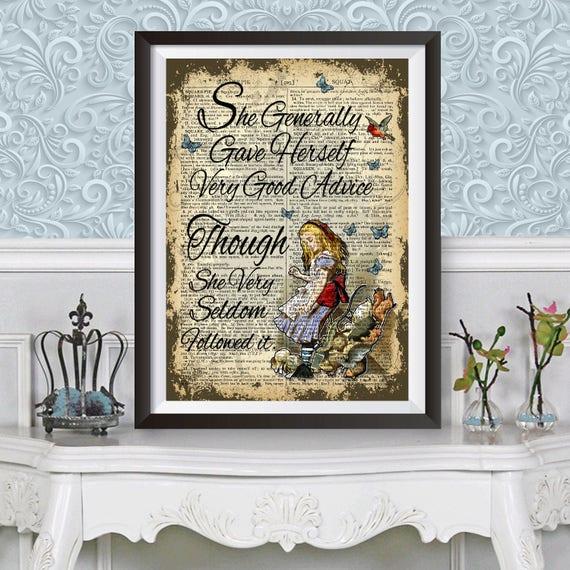 Original Art Print Diccionario Antiguo Libro página Alice In Wonderland feroz Decoración