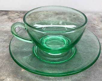 Depression Glass Tea Cup (Vaseline Glass)