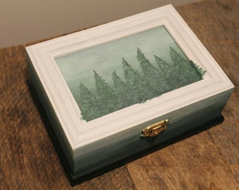 Hand Painted Pine Tree Box