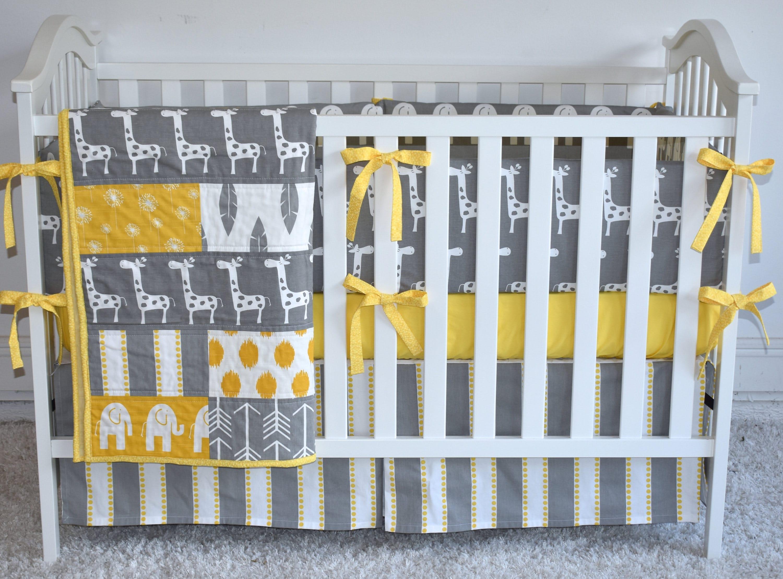 Grey And Yellow Giraffes Crib Bedding Elephant Crib