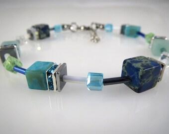 Blue Bracelet gemstones Jasper,Amazonite,Agate, Hematite,Rhinestones,Glass bracelet,Wedding gift,Mothers day,Valentines gift