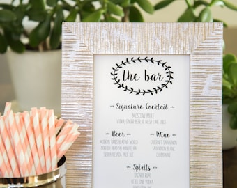 Printable Wedding Bar Menu - Bar Sign - Signature Drink - Digital File - Custom - Made to Order - JPEG - 5x7
