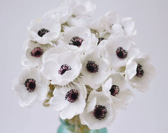 White anemone etsy white anemones real touch flowers burgundy center for wedding bouquets centerpieces home decorations real touch bouquet mightylinksfo