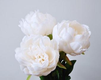 White silk flowers etsy silk peonieswhite peoniesivory white bridesmaid peonies bouquetswhite wedding flowerssilk flowersnot real touch mightylinksfo