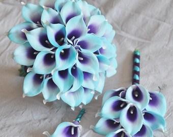 Purple blue bouquet   Etsy