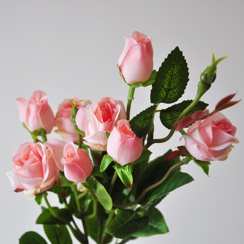 Rose Artificial Looking Mini Bouquet Real Rambling Wedding Roses Silk Pink Faux EIW2DH9