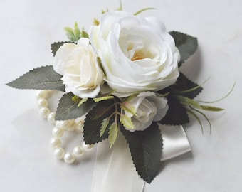 Wrist Corsage Choose Ribbon Colors Mother's Corsage Pearl Corsage Ivory White Rose Rustic Wedding Corsage