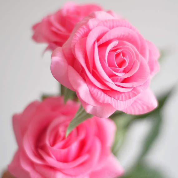 1 stems real touch rose pink rose artificial single spray silk etsy