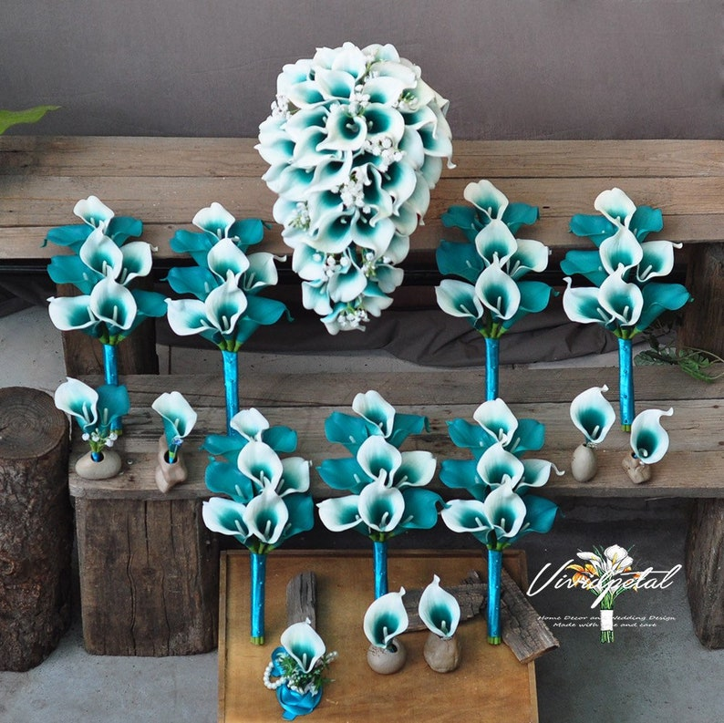 Cascading Wedding Bouquet white teal Picasso Calla Lily Bridal Bouquet Bridesmaid Bouquet Groom Groomsman wedding package
