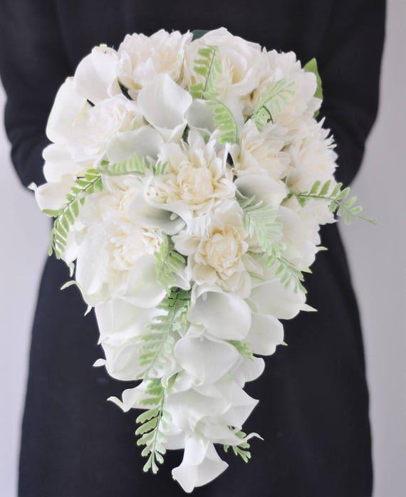 Cascade Cream White Mint Calla Lily Wedding Bouquets Romantic Etsy