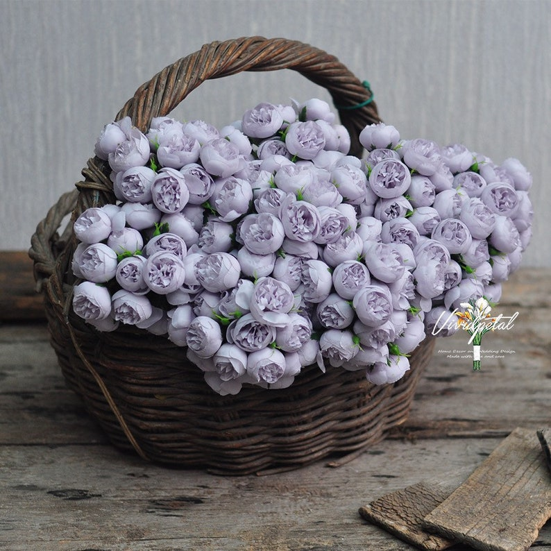 One Bundle Artificial lilac Silk Mini Peony Artificial 9 Stems Silk Peony Buds for wedding home decor