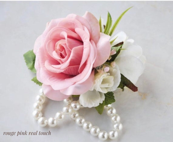Wrist Corsage Choose Ribbon Colors Mother/'s Corsage Pearl Corsage real tocu buttendy Rose Rustic Wedding Corsage free standard shipping
