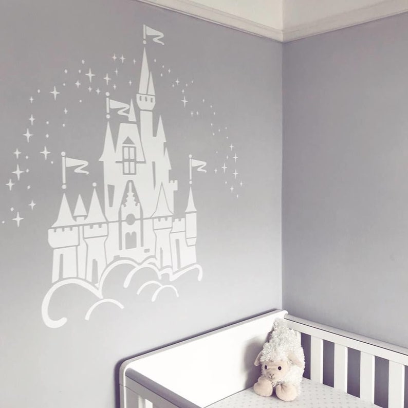 floating disney fairy castle wall sticker vinyl decal wall | etsy