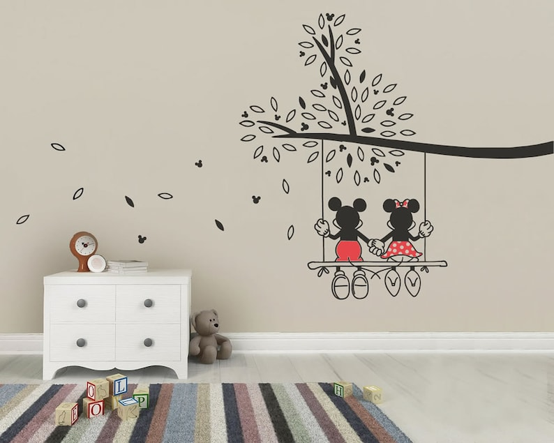 mickey mouse & minnie tree swing wall sticker wall art decal | etsy