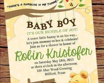 Winnie the Pooh Baby Shower Invitation / Winnie Pooh Invite/ Baby Pooh Bear DigitalInvite/ Winnie the Pooh Baby Shower