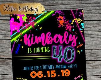 80s Invite Invitation Birthday Retro 40th Glow