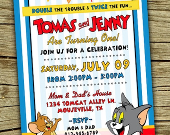 Tom And Jerry Twin Birthday Invitation Joint Party Invite