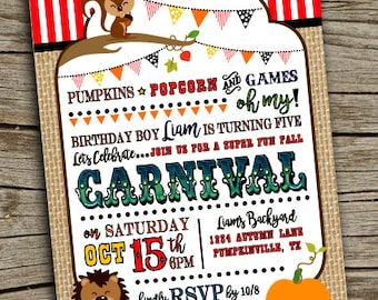 Fall Carnival Invitation Invite Birthday
