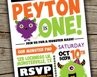 Monster Bash Invite Birthday Party Halloween Theme First Invitation