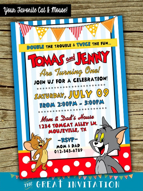 Tom And Jerry Twin Birthday Invitation Joint Party